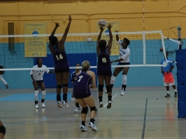 Freshman outside hitter/defensive specialist Christal Kay Hollins attacks versus Alcorn State