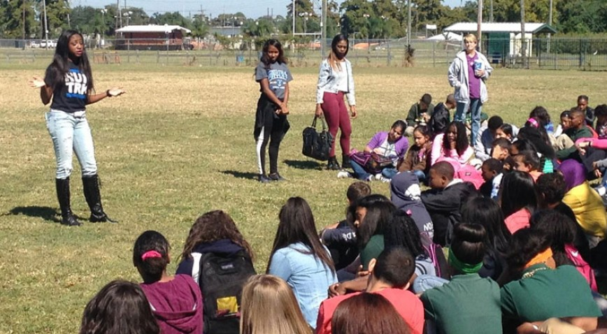 Member of the Dillard University track team spoke to honor roll students at Gretna Middle School to perform a