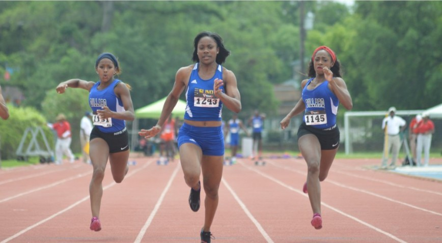 Leonie Robinson won 4 races at the 2015 GCAC Outdoor Track & Field Championships.
