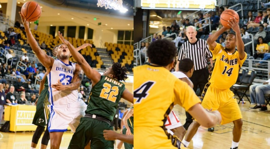 Dillard Demetric Austin (#23, left) and Xavier's Morris Wright (#14, right) were named to the LSWA Second Team.