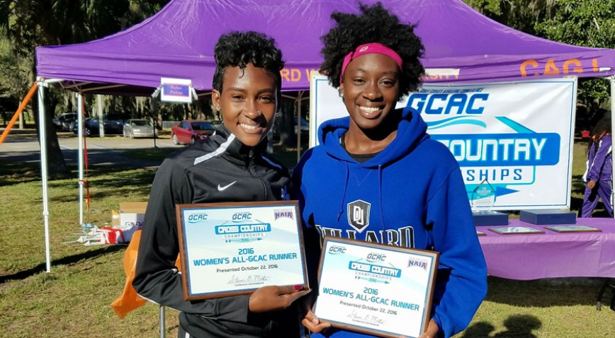 Sasha Newman (left) and Hydeia Barney both earned XC All-GCAC honors.
