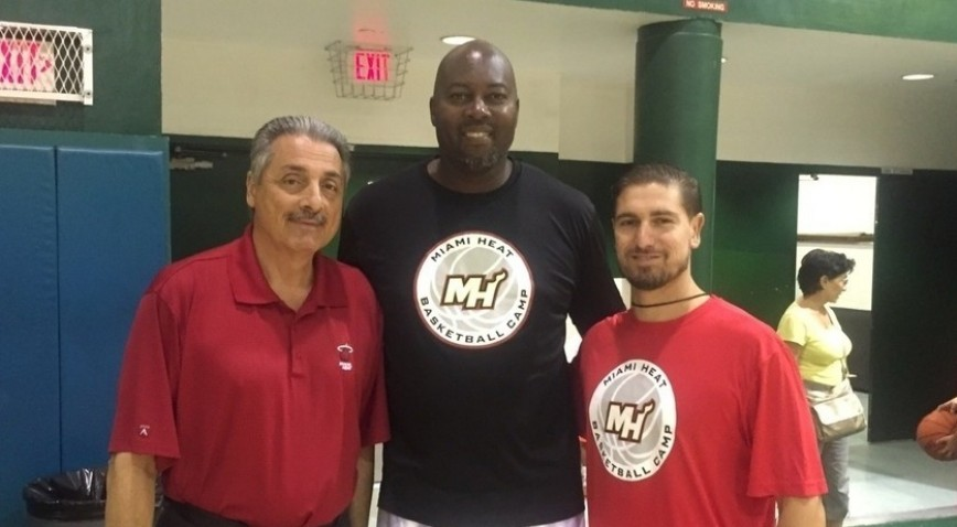 From left to right: Miami Heat announcer Tony Fiorentino, former NBA star Glen Rice and Edward Waters Assoc. Head Coach Steve