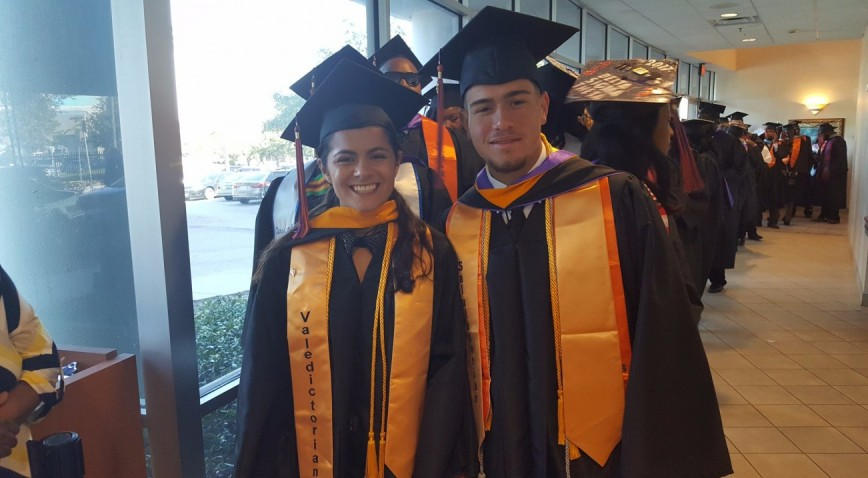 Class of 2017 Valedictorian Ariane Vitale (Women's Track & Field) & Salutatorian Alberto Rivera (Baseball)